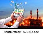 industry 4.0 concept .man hand... | Shutterstock . vector #573216520