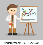man scientist presentation his... | Shutterstock .eps vector #573229060
