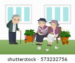 illustration of an elderly man... | Shutterstock .eps vector #573232756