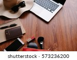 travel accessories costumes on... | Shutterstock . vector #573236200