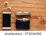men's accessories on wooden...   Shutterstock . vector #573236350