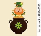 leprechaun happy tossing gold... | Shutterstock .eps vector #573242500