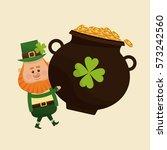 leprechaun carrying big pot... | Shutterstock .eps vector #573242560