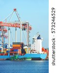 port cargo crane  ship and... | Shutterstock . vector #573246529