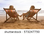 romantic couple is sitting in... | Shutterstock . vector #573247750