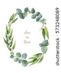 Watercolor Hand Painted Oval...