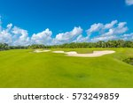 sand bunkers at the beautiful... | Shutterstock . vector #573249859