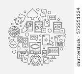 online casino round outline... | Shutterstock .eps vector #573251224