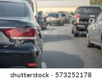 traffic jam with row of cars on ... | Shutterstock . vector #573252178