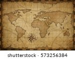 old nautical vintage world map... | Shutterstock . vector #573256384