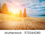 wooden pier with blue sea and... | Shutterstock . vector #573264280