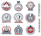 colorful sport prizes labels... | Shutterstock .eps vector #573280300