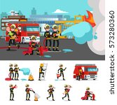colorful firefighting... | Shutterstock .eps vector #573280360