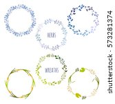 set of herbal wreaths made in... | Shutterstock .eps vector #573281374