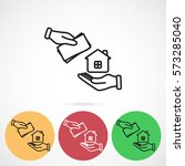 line icon  hand  money for house | Shutterstock .eps vector #573285040