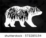 Double exposure, deocrative bear with nature pine forest cones with mountains landscape, night sky. Isolated vintage vector illustration.Tattoo, travel, adventure, wildlife symbol. The great outdoors.   Shutterstock vector #573285154