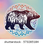 double exposure  deocrative... | Shutterstock .eps vector #573285184