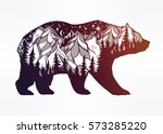Double exposure, deocrative bear with nature pine forest cones with mountains landscape, night sky. Isolated vintage vector illustration.Tattoo, travel, adventure, wildlife symbol. The great outdoors.   Shutterstock vector #573285220