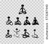 stick figures in lotus yoga... | Shutterstock .eps vector #573287440