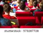 university students sitting in... | Shutterstock . vector #573287728