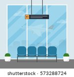 the waiting room at the airport.... | Shutterstock .eps vector #573288724