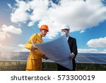 engineer checking the solar... | Shutterstock . vector #573300019