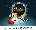 round casino golden frame with... | Shutterstock .eps vector #573303520