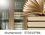 book open in the library | Shutterstock . vector #573310786