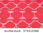 Red Lace Fabric Texture Photo...