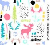forest seamless pattern. wild... | Shutterstock .eps vector #573314740
