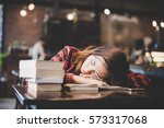 portrait of hipster teenage... | Shutterstock . vector #573317068