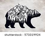 decorative double exposure bear ... | Shutterstock .eps vector #573319924