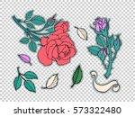 rose tattoo set. sticker  patch ... | Shutterstock .eps vector #573322480