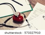 prescription cardiologist... | Shutterstock . vector #573327910