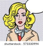 amazed girl  speech bubble. pop ... | Shutterstock .eps vector #573330994
