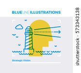 blue line illustration concept... | Shutterstock .eps vector #573343138