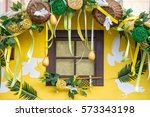 window decorated for easter
