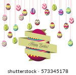 hanging easter eggs | Shutterstock .eps vector #573345178
