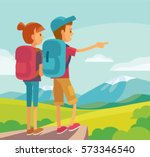 illustration with people hiking | Shutterstock .eps vector #573346540