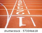 running track texture with lane ... | Shutterstock . vector #573346618