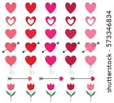 red and pink hearts set for... | Shutterstock .eps vector #573346834