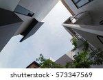 urban geometry  looking up to... | Shutterstock . vector #573347569