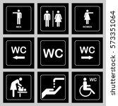 wc   toilet door plate icons...   Shutterstock .eps vector #573351064