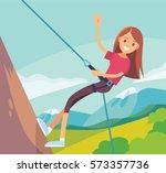 illustration with girl climbing ... | Shutterstock .eps vector #573357736