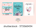 set of happy valentines day... | Shutterstock .eps vector #573360454