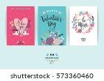 set of happy valentines day... | Shutterstock .eps vector #573360460