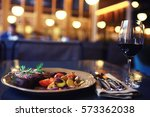 decoration of the table in the... | Shutterstock . vector #573362038