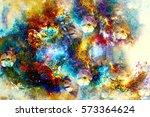 abstract multicolor flower... | Shutterstock . vector #573364624