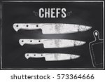 chefs knife. vector sketch... | Shutterstock .eps vector #573364666