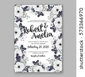 anemone wedding invitation card ... | Shutterstock .eps vector #573366970